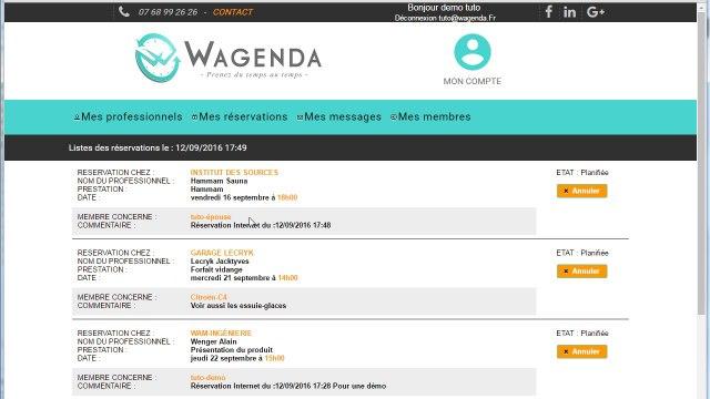 Wagenda comment gérer mes réservations