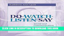 New Book Do-Watch-Listen-Say: Social and Communication Intervention for Children with Autism