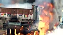 Buses set on fire during riots in India