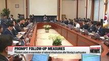 President Park orders earthquake follow-up measures, Seoul's own missile defense against N. Korean threats