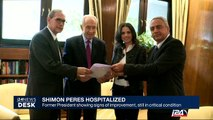 Shimon Peres showing signs of improvement, still in critical condition