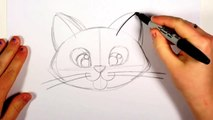 How To Draw A Cute Kitten Face - Tabby Cat Face Drawing Art for Kids   CC !