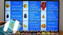 Affichage dynamique d'étiquettes prix fruits & légumes :  mise à jour photo avec smartphone