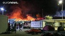 Grèce : incendie dans un camp de réfugiés et de migrants