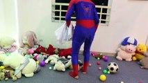 #Spiderman Vs Flozen Elsa in Realife ! Maleficent Drop Tacks , Black Spiderman Bicycle Robbery