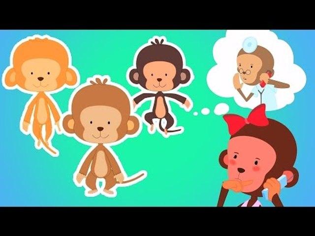 cinque scimmie poco|filastrocche|bambini canzone|italiano