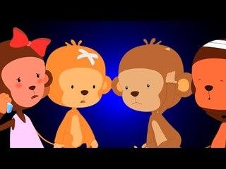 Fünf kleine Affen | Kinderreime | Karikatur für Kinder