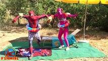 Spiderman in The POOL! w⁄ Pink Spidergirl vs Spiderman Swimming POOL prank! Frozen Elsa in Real Life