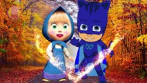 Masha And The Bear with PJ Masks Catboy Gekko Owlette Crying when bad makeup #2