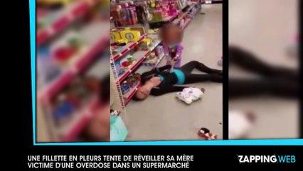 Une fillette en pleurs tente de réveiller sa mère victime d'une overdose dans un supermarché (vidéo)