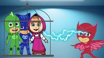 #Masha And The Bear #with #PJ #Masks #Catboy #Gekko #Owlette #Crying when #bad #makeup #Parody New