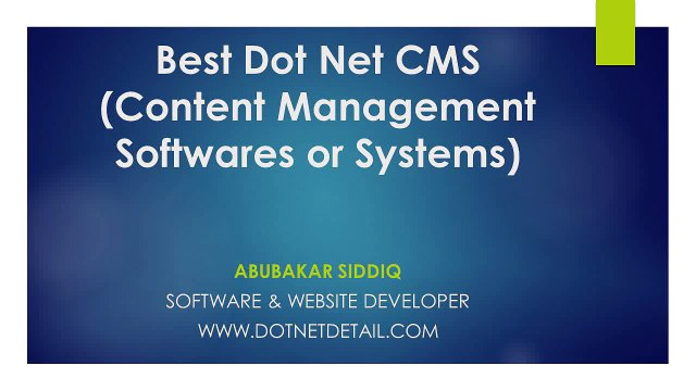 Best Dot Net CMS Content Management Softwares or systems