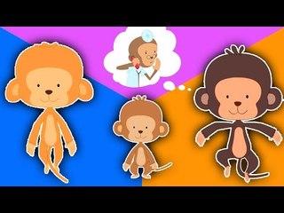 Five Little Monkeys sautant sur le lit | De bande dessinée pour les enfants | Popular Comptine