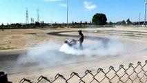 Stunt Bike Didi Burns a Wheel on Track - Supercar Motor Show