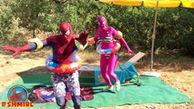 Spiderman in The POOL! w_ Pink Spidergirl vs Spiderman Swimming POOL prank! Frozen Elsa in Real Life
