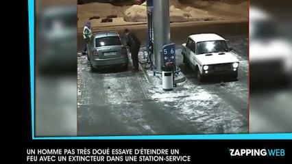 Un homme pas très doué essaye d'éteindre un feu avec un extincteur dans une station-service (vidéo)