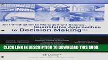 [PDF] Bundle: An Introduction to Management Science: Quantitative Approaches to Decision Making,