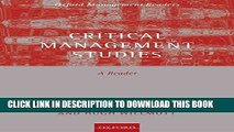 [PDF] Critical Management Studies: A Reader (Oxford Management Readers) Full Collection