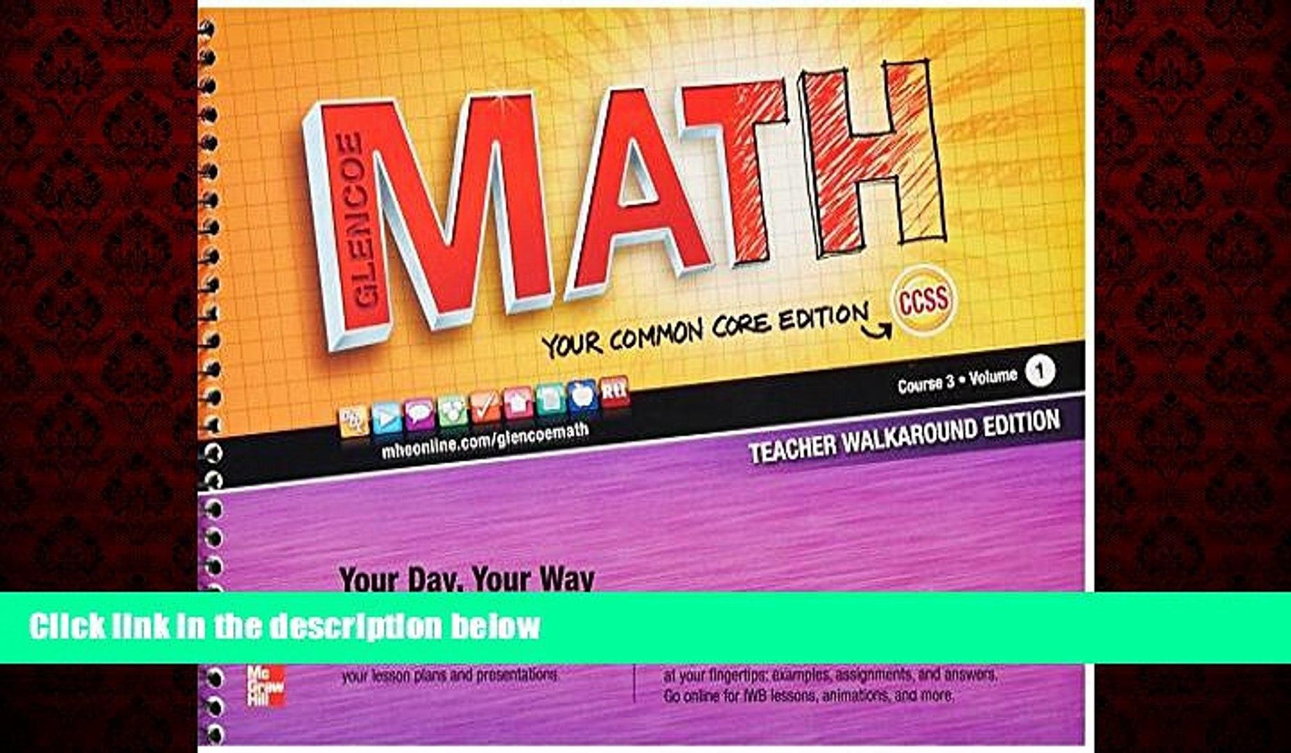 FREE DOWNLOAD Glencoe Math Course 3 Teacher Edition Vol  1 READ ONLINE