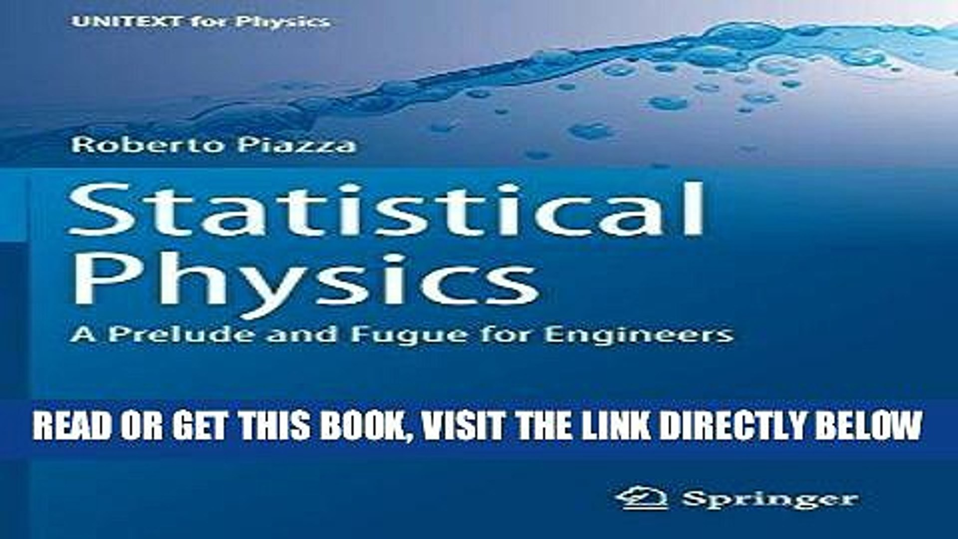 [READ] EBOOK Statistical Physics: A Prelude and Fugue for Engineers  (UNITEXT for Physics) ONLINE
