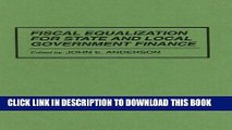 Collection Book Fiscal Equalization for State and Local Government Finance