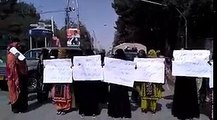 Baloch female students protesting against Pakistani atrocities and injustices against the Baloch people in Balochistan.