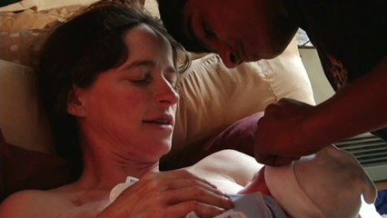A woman in her 40s gives birth at home