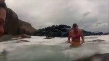 Ocean Wave Destroys Hot Girl Doing Yoga