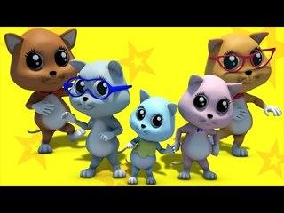 kitten finger family   nursery rhymes farmees   3d rhymes   kids songs
