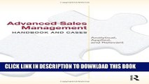 [PDF] Advanced Sales Management Handbook and Cases: Analytical, Applied, and Relevant Full Online