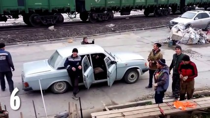 how many Russian workers are squeezed into ONE car in this hilarious video