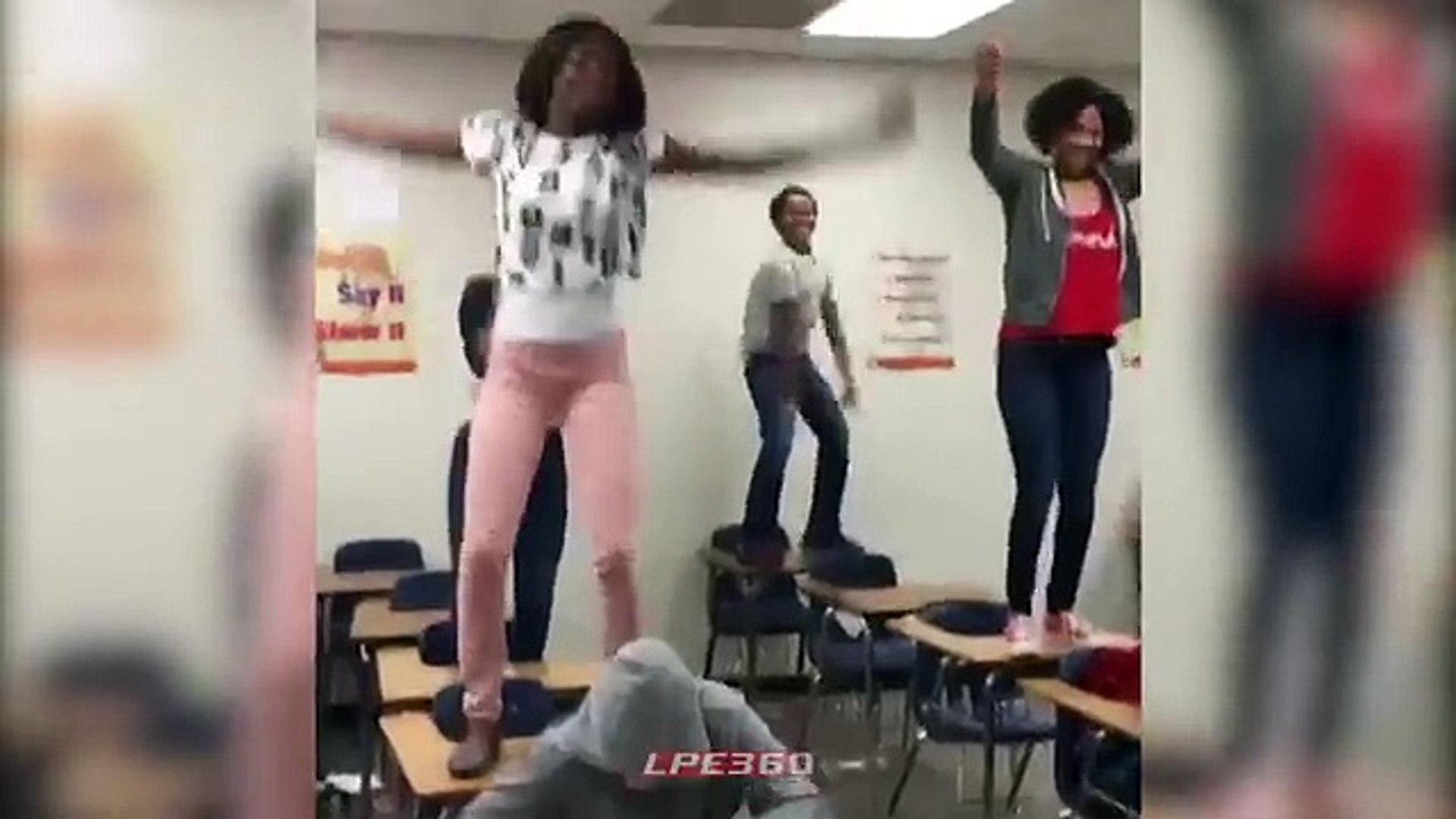 Dancing Girl Knocked Off School Desk And Falls