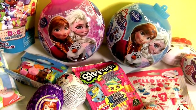 Disney Frozen Elsa Anna Toys SURPRISE Christmas ORNAMENTS MyLittlePony PlayDoh SHOPKINS PeppaPig