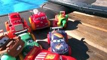 Disney Pixar Cars and Lighting McQueen, Mater, Red Mack, Francesco Bernoulli HydroWheels at the Pool