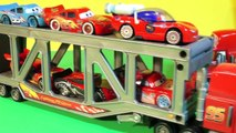 Disney Pixar Cars with Mack Transporter and Mack from Car 1 with Lightning McQueen, and Mater