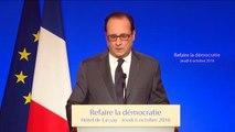 """""""Trois mandats pour les parlementaires et les élus locaux, c'est une durée suffisante"""", estime François Hollande"""