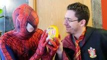 Spiderman Loses his Eyes w/ Pink Spidergirl, Frozen Elsa, Harry Potter! Fun Superhero in Real Life