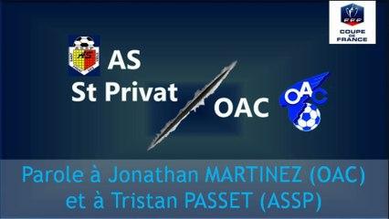 [CDF - 5ème Tour] ASSP - OAC: Interview croisée J. Martinez / T. Passet