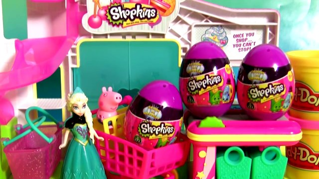 Queen Elsa Shopping For Shopkins Eggs Surprise Toys Disney Frozen at the Supermarket Cash Register
