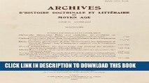 [PDF] Archives D Histoire Litteraire Et Doctrinale Du Moyen-Age LXX - 2003 (Archives D Histoire