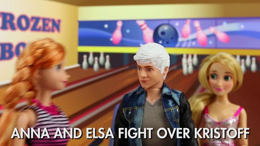 Frozen Anna and Elsa Fight Over Kristoff after Jack Frost Breaks Up. DisneyToysFan.