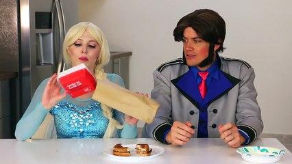 Frozen Elsa vs Hans Burger Challenge in Real Life Frozen Characters. DisneyToysFan