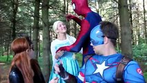 Spiderman Sits on Frozen Elsa!!! w_ Joker Maleficent Spidergirl Anna Catwoman! Superhero Fun IRL