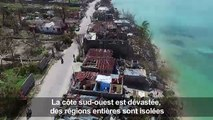 Ouragan Matthew: vue aérienne des dégâts à Port-Salut, en Haïti