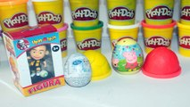 Play Doh Peppa Pig HELLO KITTY Frozen My Little Pony Upin Ipin Surprise Eggs Unboxing