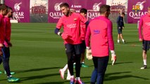 FC Barcelona training session: Neymar Jr. back at training