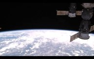 A UFO OF GOLDEN/BROWN COLOUR DESCENDING ON LEFT OF YOUR SCREEN, NASA N ISS ARE HIGHLY APPRECIATED