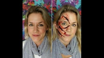 Slasher Face Scary Halloween Makeup SPFX   Primp Powder Pout