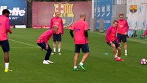 FC Barcelona training session: Messi, Suarez and Neymar reunited this morning