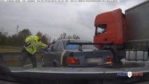 Ce chauffeur de camion intervient pour stopper un chauffard en fuite